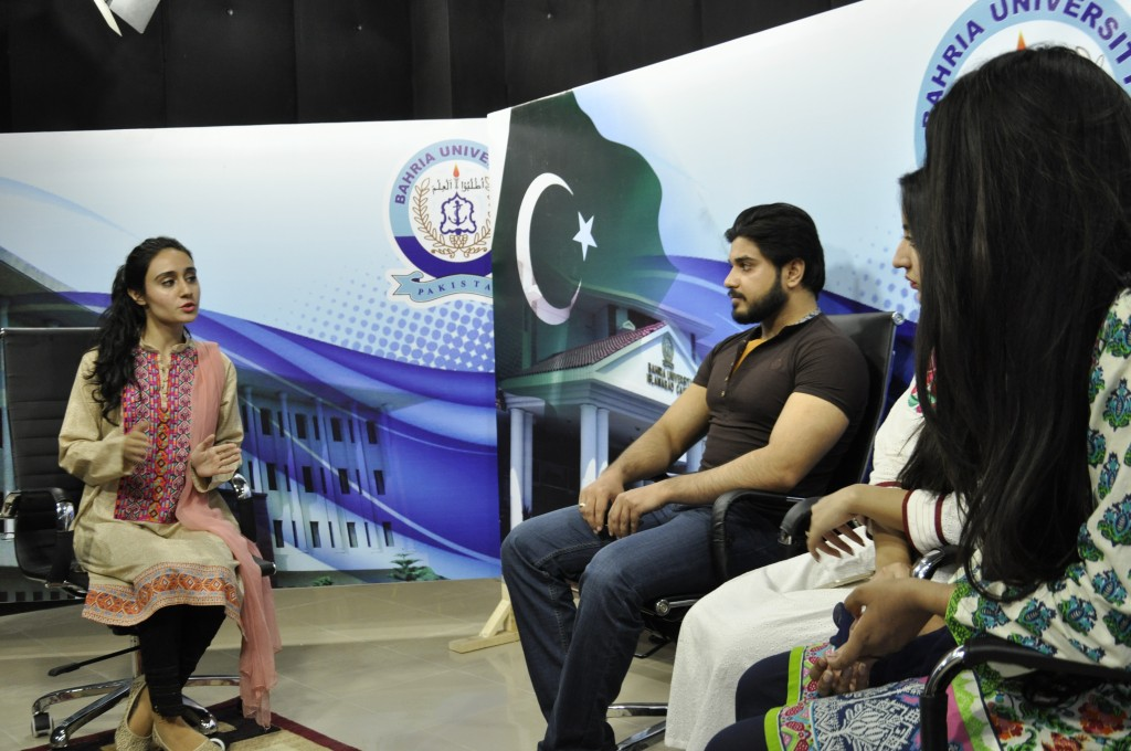 BSS (MS) students recording TV talk show in BU Studio.