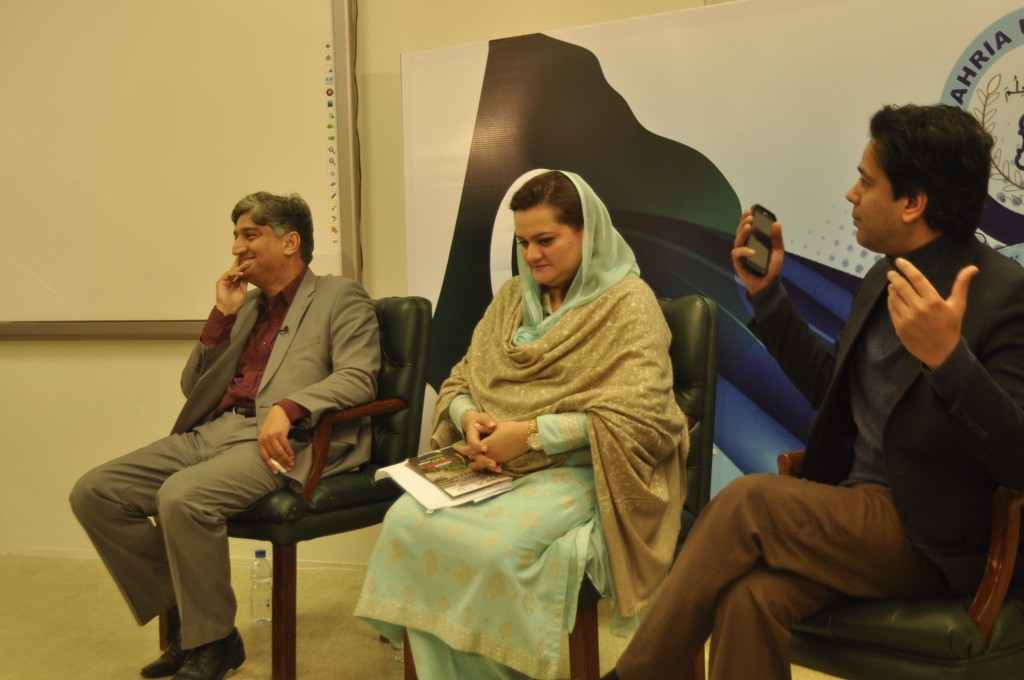 senior anchor persons Matiullah Jan, Ahmed Qureshi and PMLN- MNA in TV talk show at BU Studio.